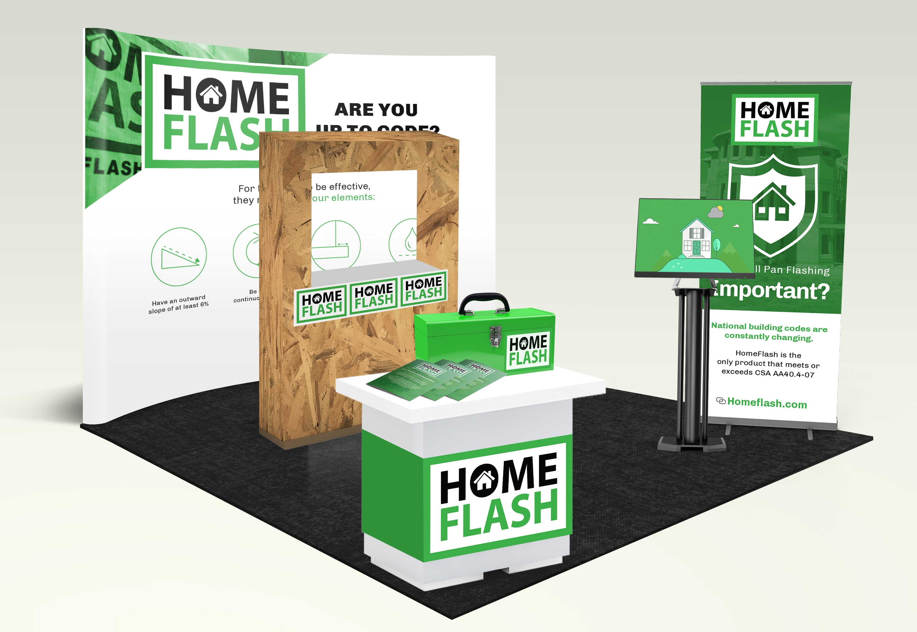 HomeFlash Tradeshow Booth Branded