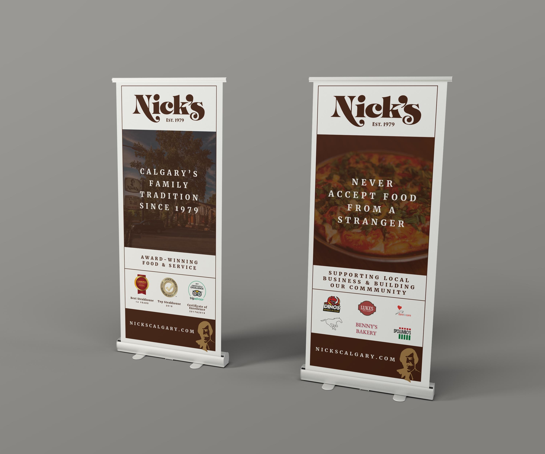 Nick's popup banner graphic design