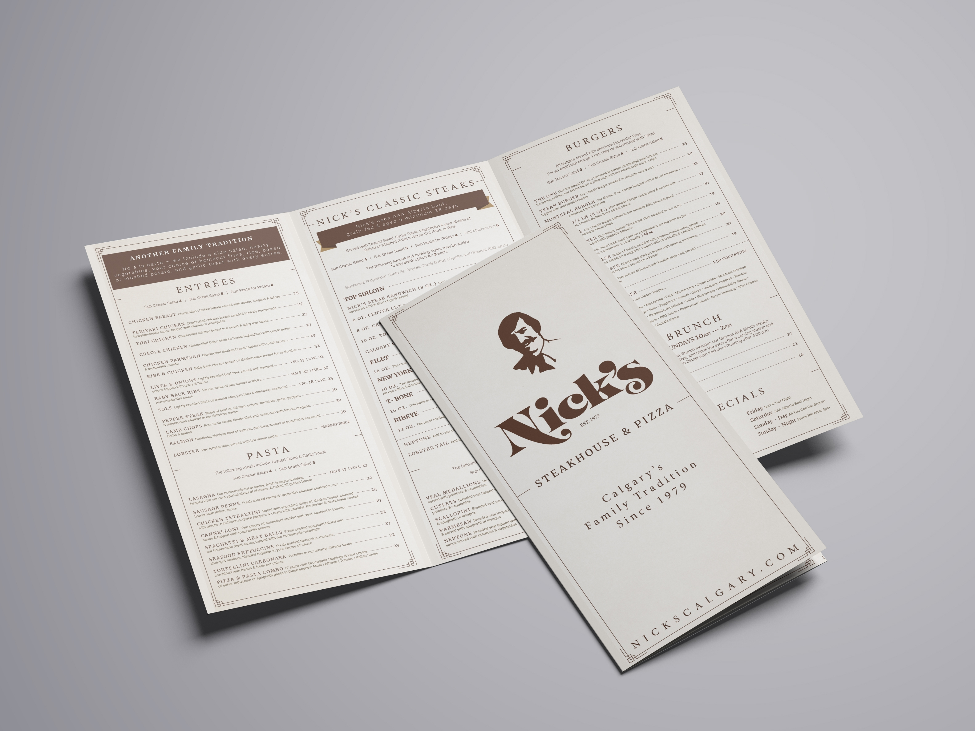 Nick's Steakhouse Menu Graphic Design